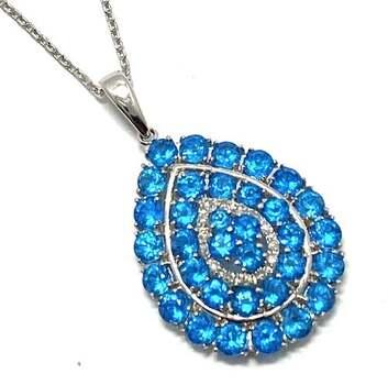 Lorenzo .925 Sterling Silver, 0.056ct of 14 Genuine Diamonds & 2.53ct Blue Apatite Drop Necklace