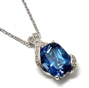 Lorenzo .925 Sterling Silver, 0.068ct of 17 Genuine Diamonds & 2.5ct London Blue Topaz Drop Necklace