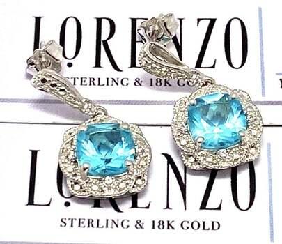 Lorenzo .925 Sterling Silver, 0.08ct Diamond & 3.06ct Tourmaline Earrings