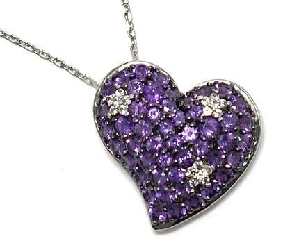 Lorenzo .925 Sterling Silver, 0.09ct White Sapphire & 1.41ct Amethyst Heart Shape Pendant Necklace