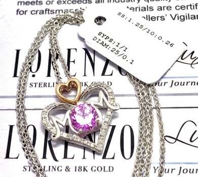 Lorenzo .925 Sterling Silver, 0.10ct Genuine Diamond & 1.00ct Pink Topaz Necklace