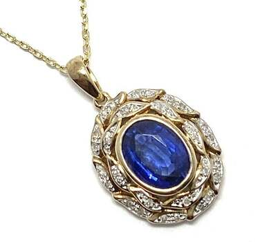 Lorenzo .925 Sterling Silver, 0.112ct of 28 Genuine Diamonds & 2.4ct Kyanite Drop Necklace