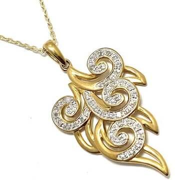 Lorenzo .925 Sterling Silver 0.18ct of 45 Genuine Diamonds Leaf Shape Necklace