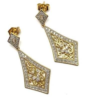 Lorenzo .925 Sterling Silver 0.454ct of 102 Genuine Diamonds Antique Design Drop Earrings