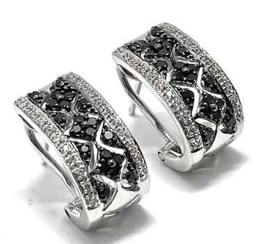 Lorenzo .925 Sterling Silver 0.4ct Black Spinel & 0.25ct White Topaz Hoop Earrings