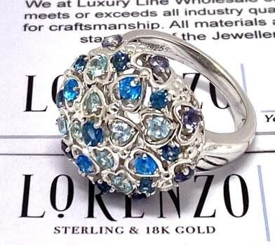 Lorenzo .925 Sterling Silver, 0.50ct Blue Topaz & 0.50ct Aquamarine & 0.50ct Iolite Ring Size 7.5