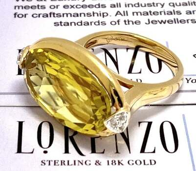Lorenzo .925 Sterling Silver, 12.00ct Lemon Quartz & 0.11ct White Sapphire Ring Size 7.5