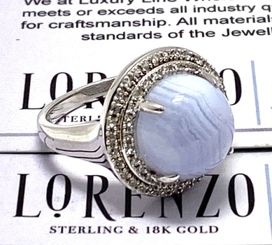 Lorenzo .925 Sterling Silver 12mm Natural Blue Chalcedony & Natural White Sapphire Women's Ring, Size 6.5