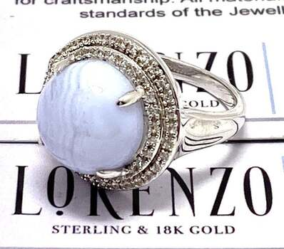 Lorenzo .925 Sterling Silver, 12mm Natural Blue Chalcedony & White Sapphire Ring Size 6.5