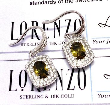 Lorenzo .925 Sterling Silver 1.35ct Genuine Smoky Quartz & 0.55ct Genuine White Topaz Earrings