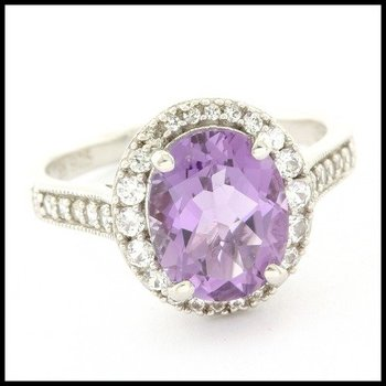 LORENZO .925 Sterling Silver 14k White Gold Plated Genuine Amethyst & Created White Sapphire Ring Size 7.25