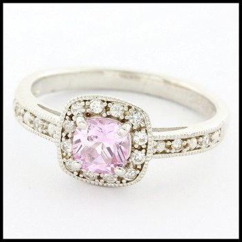 LORENZO .925 Sterling Silver 14k White Gold Plated Pink Sapphire & White Sapphire Ring Size 7