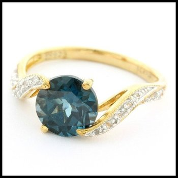 LORENZO .925 Sterling Silver & 14k Yellow Gold Overlay Genuine London Blue Topaz & Created White Sapphire Ring Size 7.25