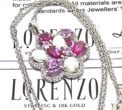 Lorenzo .925 Sterling Silver, 1.50ct Opal & 1.23ct Ruby & 1.12ct Pink Topaz Necklace