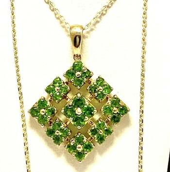 Lorenzo .925 Sterling Silver, 1.84ct Chinese Diopside Drop Necklace