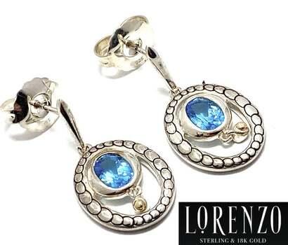 Lorenzo .925 Sterling Silver, 1.88ct Blue Topaz Earrings