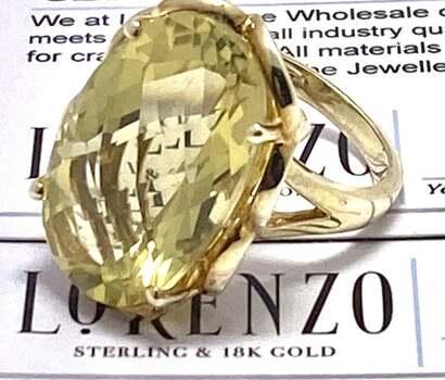Lorenzo .925 Sterling Silver, 22.45ct Lemon Quartz Ring Size 8