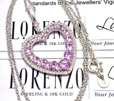 Lorenzo .925 Sterling Silver, 2.35ct Pink Topaz & 0.30ct White Topaz Necklace