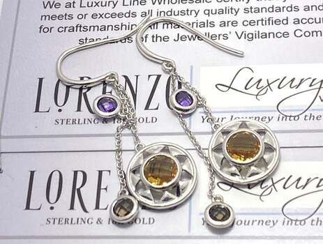 Lorenzo .925 Sterling Silver, 2.38ctw Multi-Color Stone Earrings