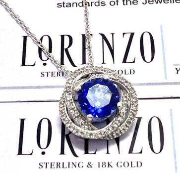Lorenzo .925 Sterling Silver, 2.85ct Blue & White Sapphire Necklace