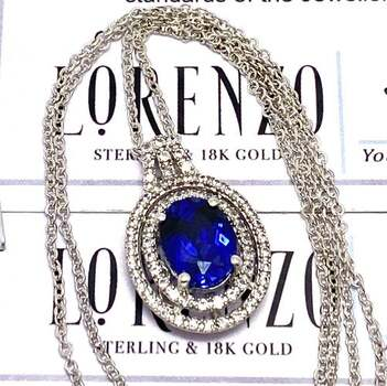 Lorenzo .925 Sterling Silver, 3.15ct Blue Sapphire & 0.32ct White Sapphire Necklace