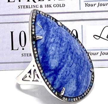 Lorenzo .925 Sterling Silver, 33x23mm Blue Agate & 0.50ct Blue & White Topaz Ring Size 7.5