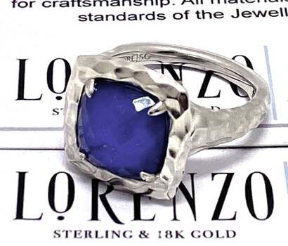 Lorenzo .925 Sterling Silver, 3.82ct Lapis Hammered Design Ring Size 7