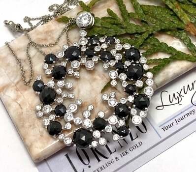 Lorenzo .925 Sterling Silver, 5.50ct Black Spinel & White Diamonique Necklace