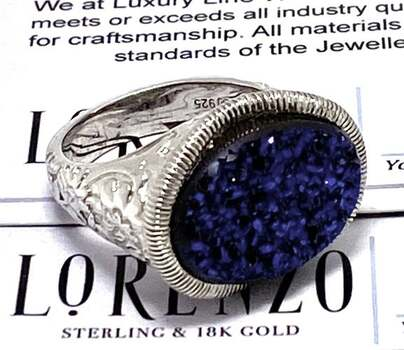 Lorenzo .925 Sterling Silver, 8.92ct Blue Titanium Agate Ring Size 7