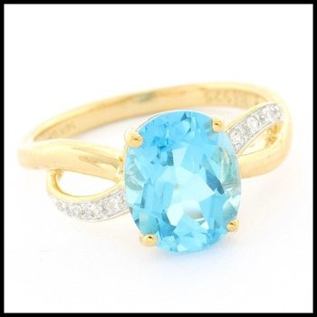 LORENZO .925 Sterling Silver with 14k Yellow Gold Overlay Blue Topaz & White Sapphire Ring Size 7