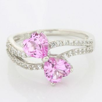 LORENZO Solid .925 Sterling Silver, 2.42ctw Pink & White Sapphire Ring size 7