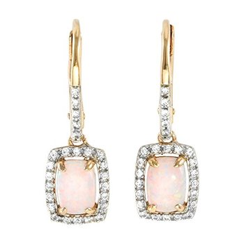 LORENZO Sterling Silver 14k Rose Gold Plated Cushion Cut Created Pink Opal & Created White Sapphire Earrings