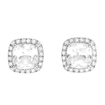 LORENZO Sterling Silver 14k White Gold Plated Cushion Cut and Round Cut Created White Sapphire Stud Earrings