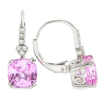 LORENZO Sterling Silver 14k White Gold Plated Cushion Cut Created Pink Sapphire & White Sapphire Earrings