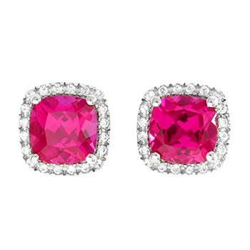 LORENZO Sterling Silver 14k White Gold Plated Cushion Cut Created Ruby & Round Cut Created White Sapphire Stud Earrings