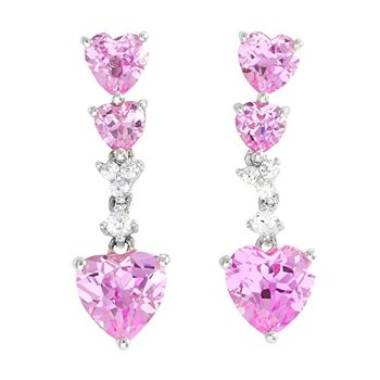 LORENZO Sterling Silver 14k White Gold Plated Heart Shape Created Pink & White Sapphire Earrings