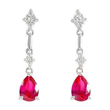 LORENZO Sterling Silver 14k White Gold Plated Pear Shape Created Ruby & Created White Sapphire Earrings