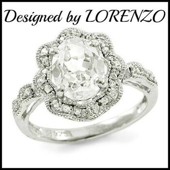 Lorenzo Sterling Silver 9mm Oval Shape Created White Sapphire Women's Ring, Size 6.75