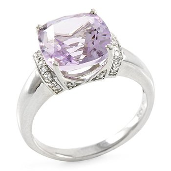 LORENZO Sterling Silver Natural Rose de France Amethyst & White Sapphire Ring, Size 7