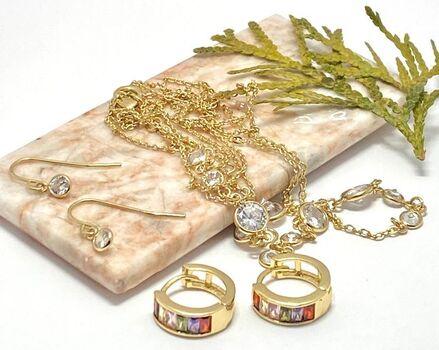 Lot of 0.35ctw Cubic Zirconia Set of Earrings & Necklace & 2.40ctw Multicolor Gemstones Earrings