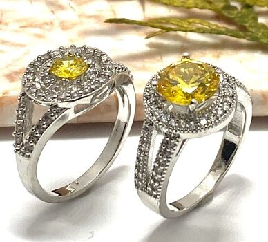 Lot of 0.80ctw Citrine & White Sapphire Ring Size 7 & 2.29ctw  Citrine & White Sapphire Ring Size 7