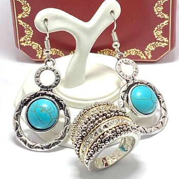 """LOT of 1.15ctw White Sapphire Ring Size 7 & 1/2"""" in Diameter Turquoise Earrings"""