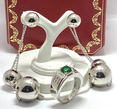 Lot of 1.18ctw Emerald & White Sapphire Ring Size 6 3/4 & White Ball Earrings