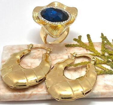 LOT of 12.50ctw Blue & White Sapphire Ring size 8 & Hoop Earrings