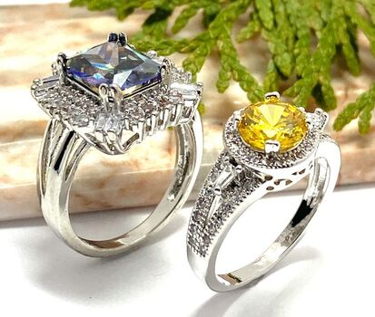 Lot of 1.25ctw Citrine & White Sapphire Ring Size 6 & 5.10ctw Mystics & White Sapphire Ring Size 7