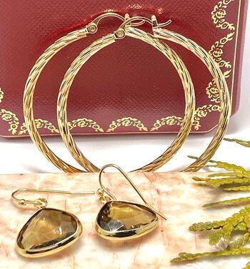 "Lot of 12x12x12mm Smoky Topaz Earrings & 1 3/4"" in Diameter Hoop Earrings"