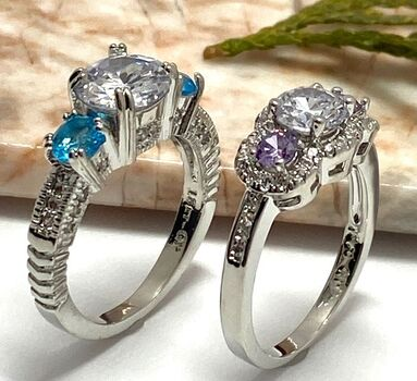 LOT of 1.33ctw Amethyst & White Sapphire Ring Size 6.5 & 2.23ctw Blue & White Topaz Ring Size 6