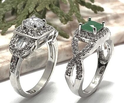 Lot of 1.38ctw White Sapphire Ring Size 7 & 1.05ctw Emerald and White Sapphire Ring Size 8