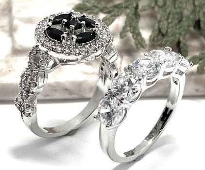 Lot of 2: 1.25ctw Onyx & White Sapphire Ring size 9 & 4.50ctw White Sapphire Ring Size 7