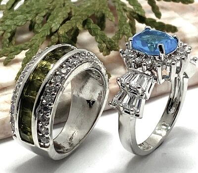 Lot of 2: 3.10ctw Blue Topaz & White Sapphire Ring Size 7 & 3.55ctw Peridot & White Sapphire Ring size 6